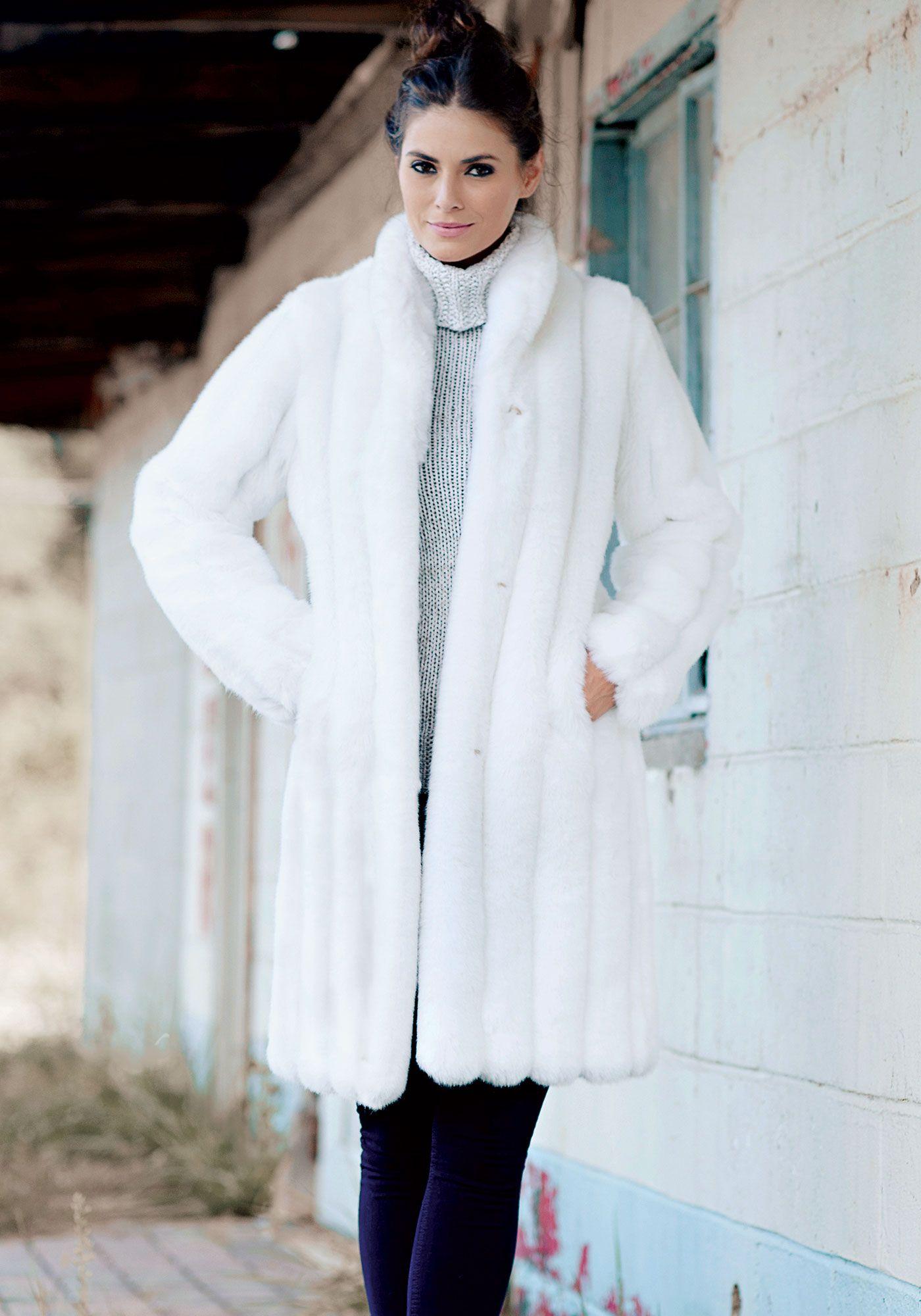 0d49c6b688b White Mink Signature Knee-Length Faux Fur Coat   FAKE FUR   Fur ...