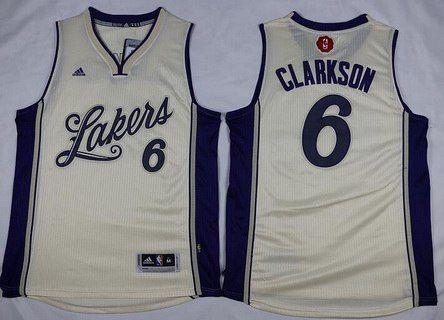 Men's Los Angeles Lakers #6 Jordan Clarkson Revolution 30 Swingman 2015 Christmas Day Cream Jersey