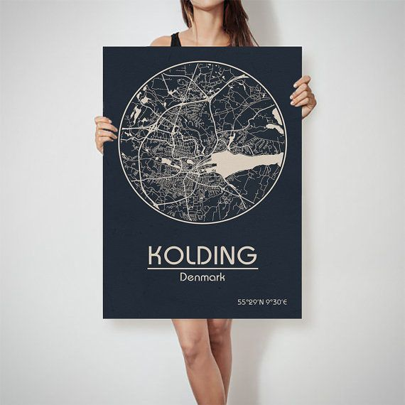 KOLDING Denmark map City Street Map Art Print Poster City Graphical