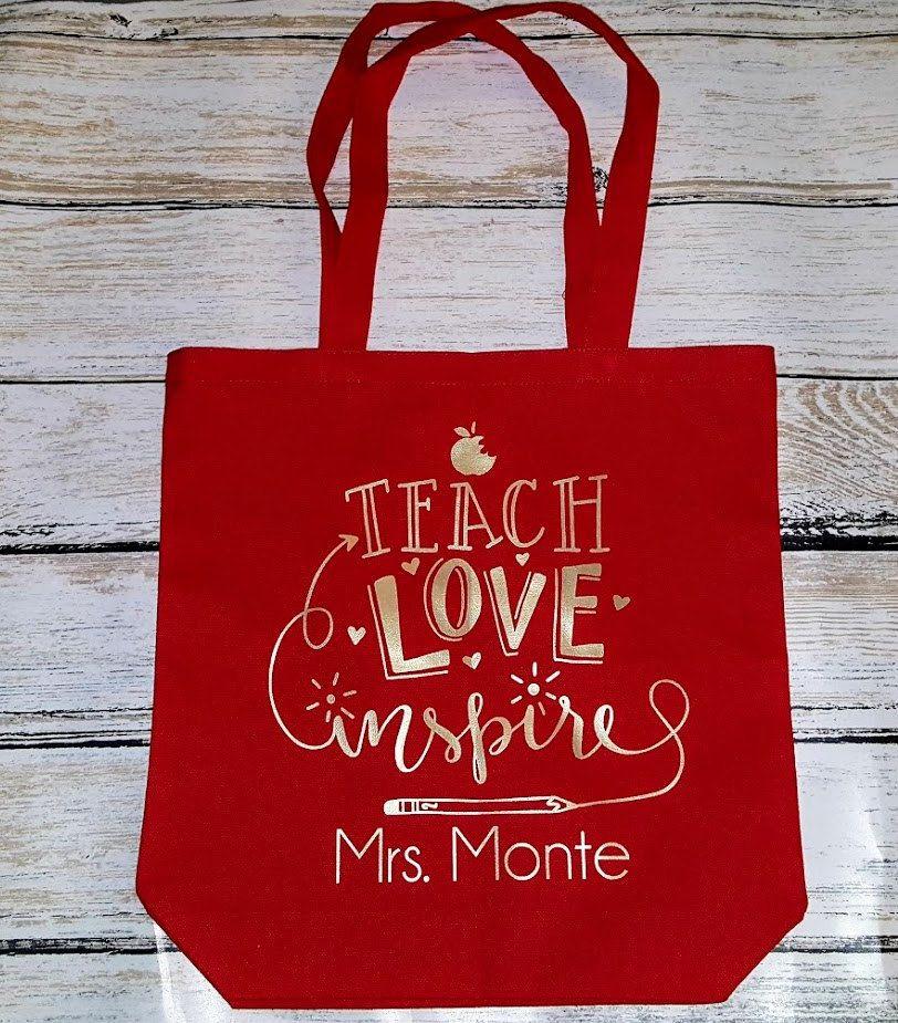 b7af5604a92 Teacher s Tote Bag, Teach-Love-Inspire, Teacher Bag with Name, Teacher  Gift, Canvas tote by myposhcreations on Etsy