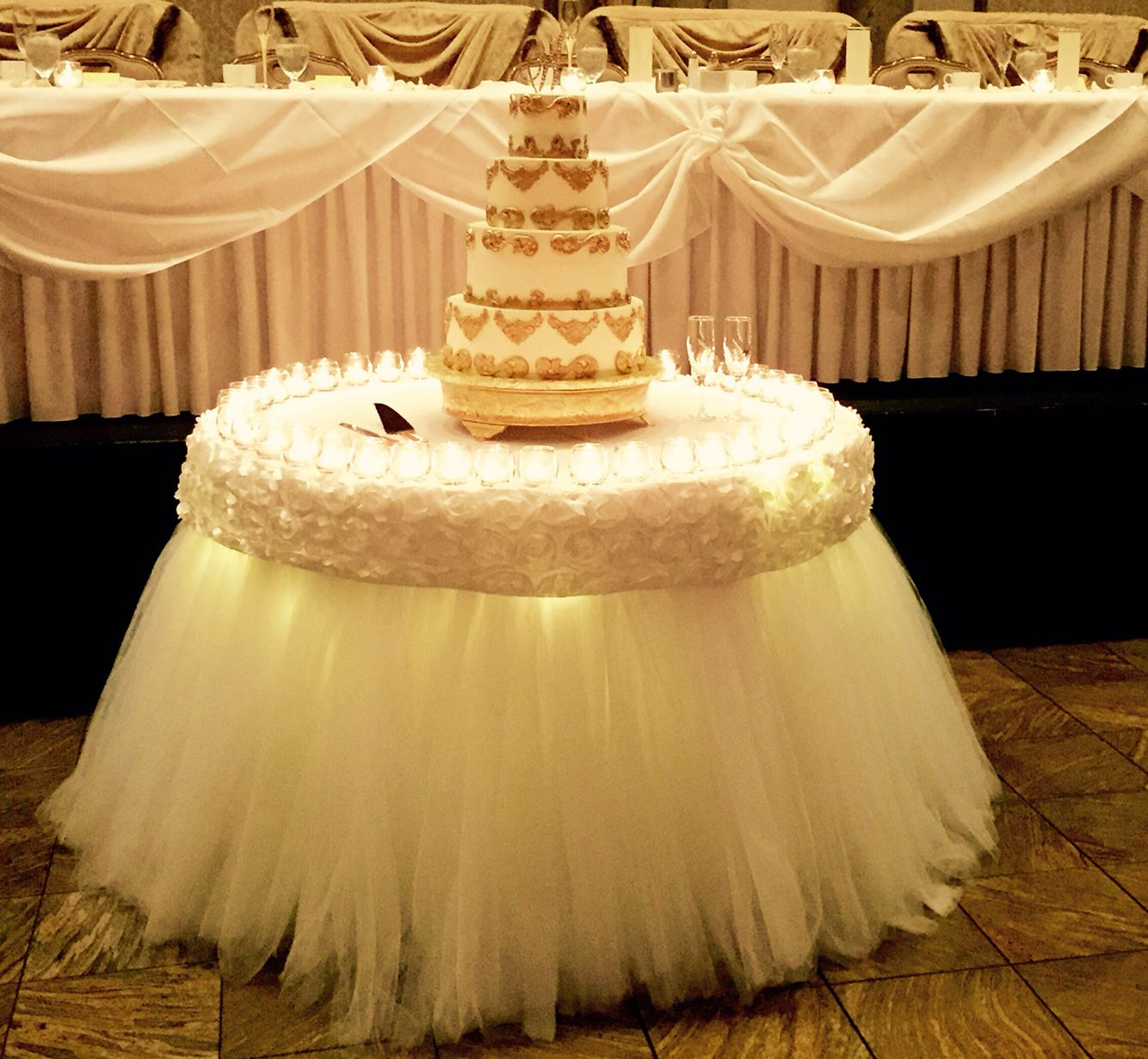 Buffet table skirting - Tulle Table Skirt With Rosette Trimming Made By Glam Candy Buffets