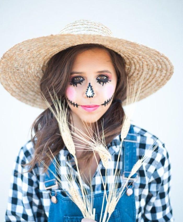 ▷ 1001 + idées de déguisement halloween femme original #epouvantaildeguisement deguisement halloween femme, épouvantail, chemisier noir et blanc, salopette jean, chapeau paille, maquillage traits noirs #epouvantaildeguisement ▷ 1001 + idées de déguisement halloween femme original #epouvantaildeguisement deguisement halloween femme, épouvantail, chemisier noir et blanc, salopette jean, chapeau paille, maquillage traits noirs #epouvantaildeguisement