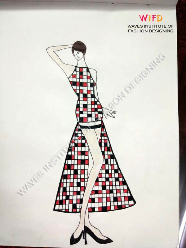 b17a32509 Black red and white checks on skirt | Concepts to Illustration ...