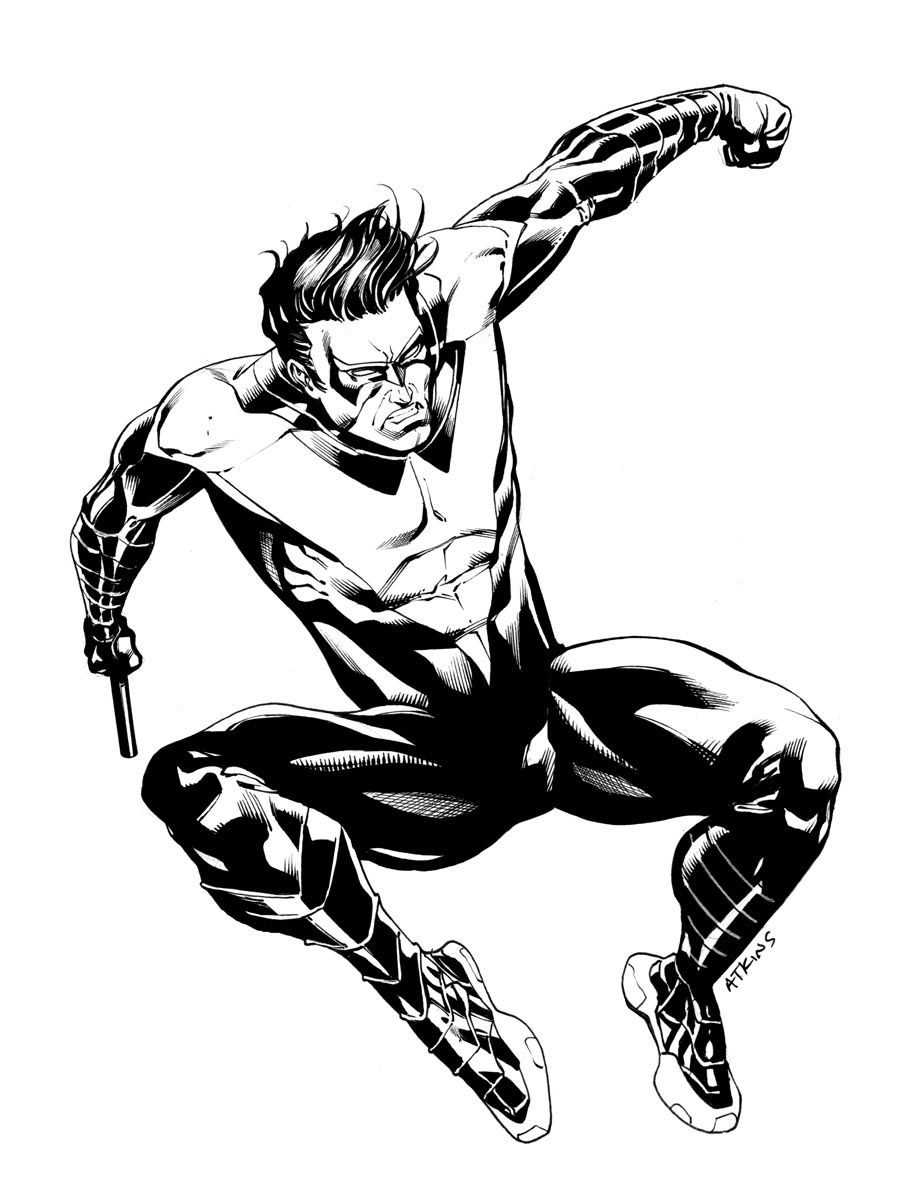 Free Printable Nightwing Coloring Pages For Kids Nightwing Superhero Coloring Coloring Pages For Kids