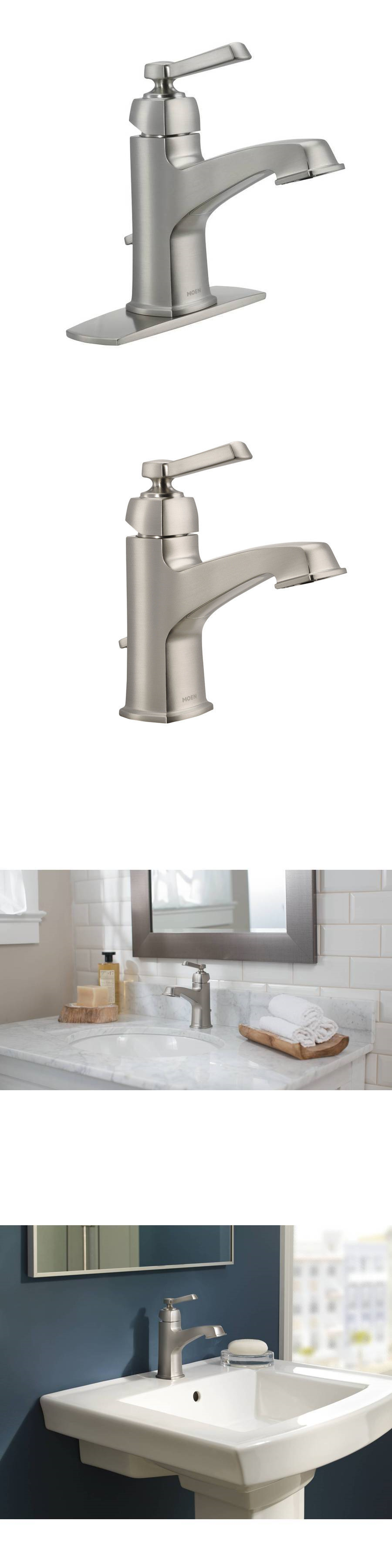 Faucets 42024 Moen Boardwalk Brushed Nickel 1 Handle Single Hole