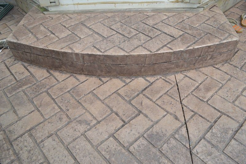 Stamped Concrete Patterns Herringbone Brick Outdoors