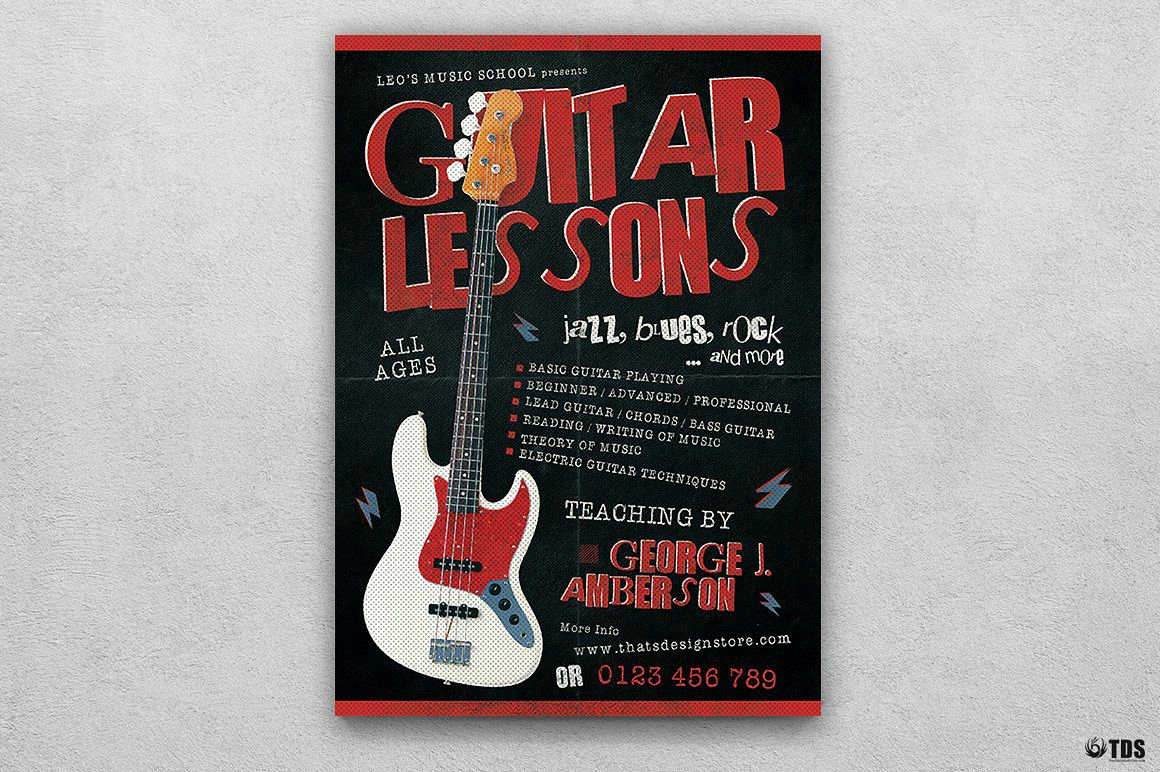 Guitar Lessons Flyer Template V2 | Pinterest | Flyer template and ...