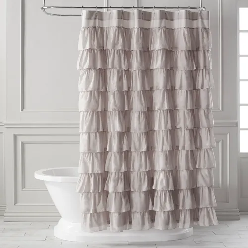 Ruffled Dove Shower Curtain With Images Ruffle Shower Curtains