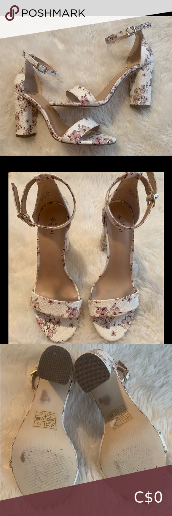 Floral 🌸 heels with ankle strap