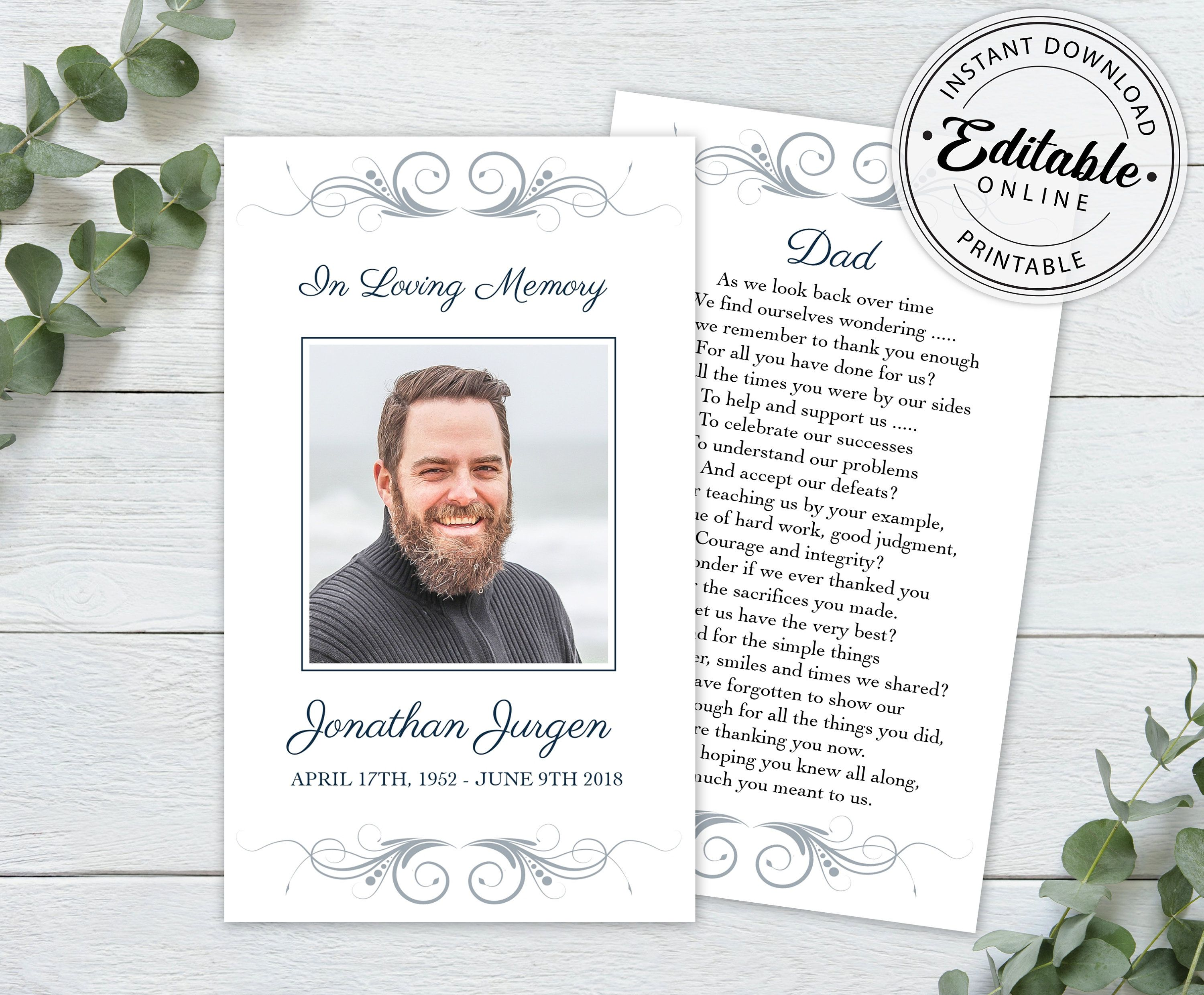 Editable Funeral Prayer Card Template Printable Memorial Etsy Funeral Prayers Prayer Cards Funeral Cards