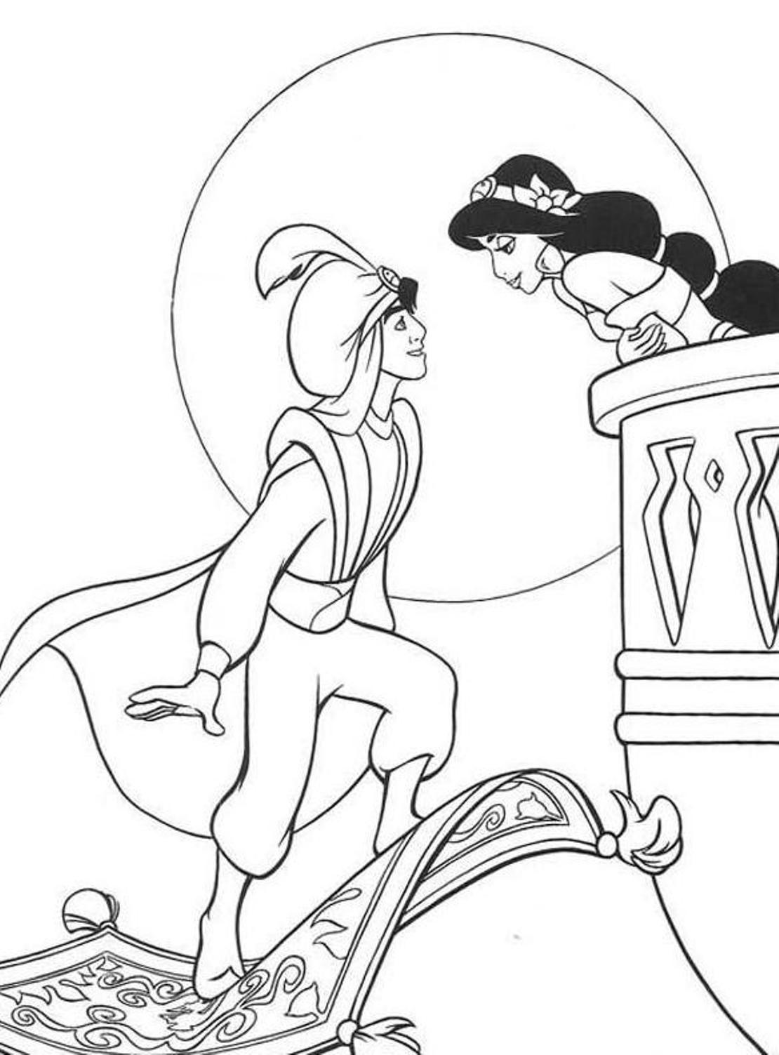 Download Aladdin Coloring Pages Jasmine Disney Or Print Aladdin ...