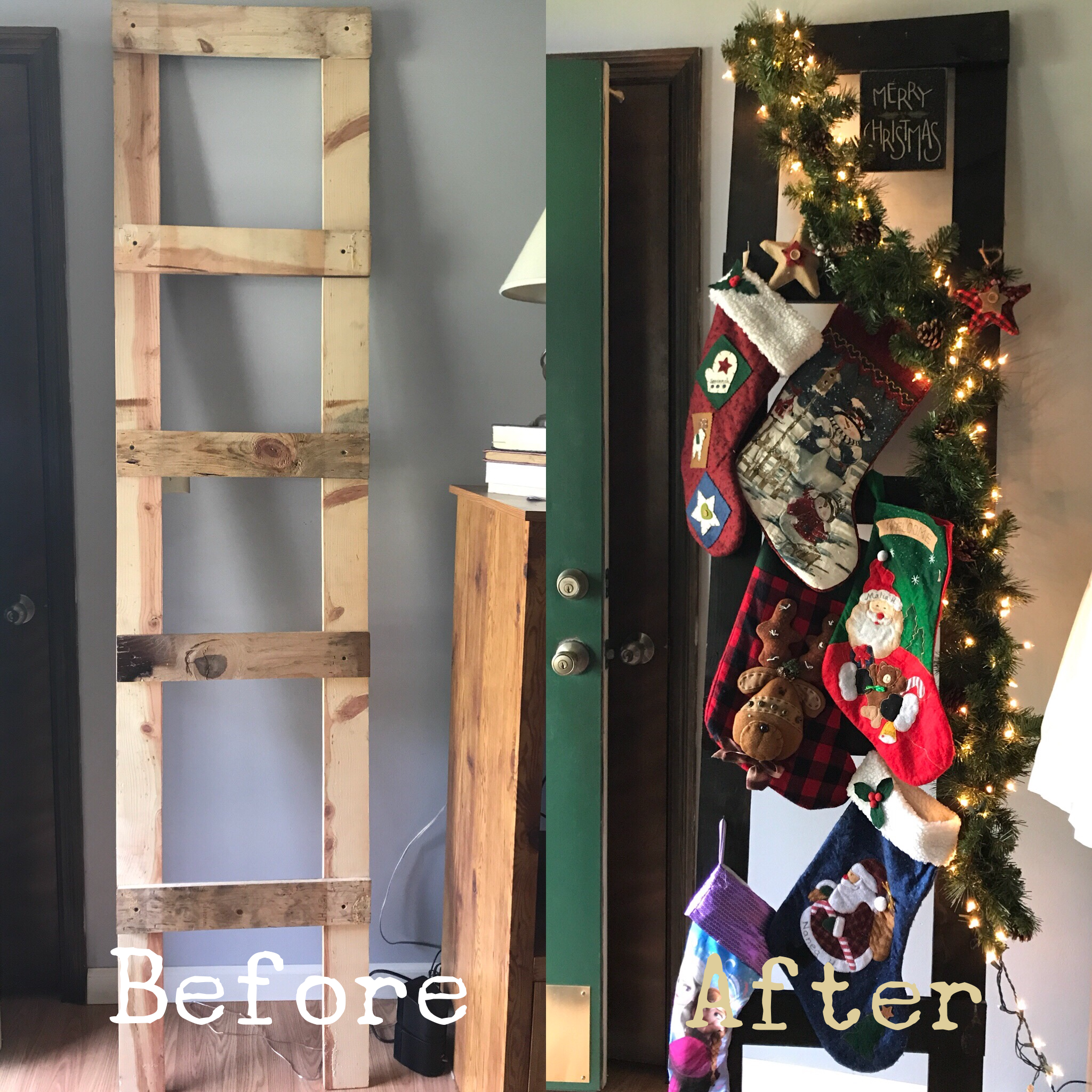 Pin By Nalani Haruo On Holiday Ideas Christmas Crafts Ladder Decor Christmas Stockings