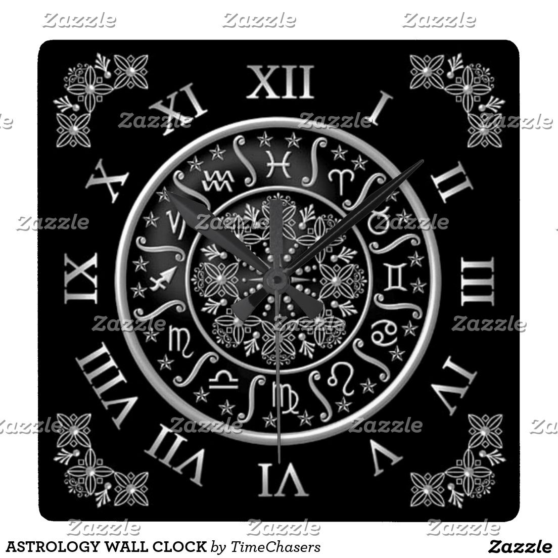 Astrology Wall Clock Zazzle Com Clock Face Printable Clock Clock Face