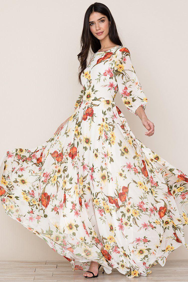 Woodstock Maxi Dress In 2020 Maxi Dress With Sleeves Maxi Dress Printed Maxi Dress [ 1125 x 750 Pixel ]