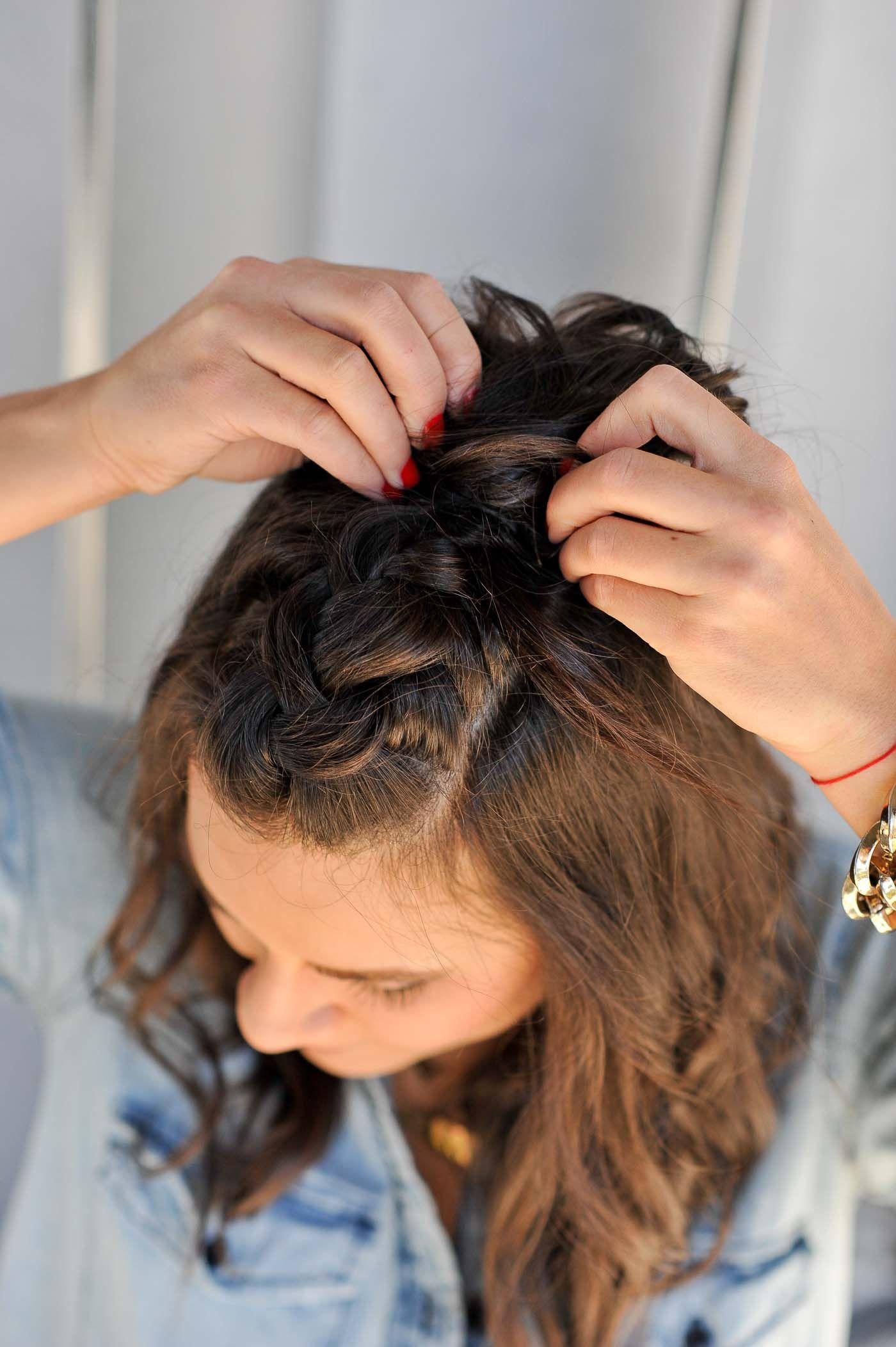 Braided Half Up Half Down Hairstyle Tutorial Braids For Short Hair Short Hair Updo Braided Half Up