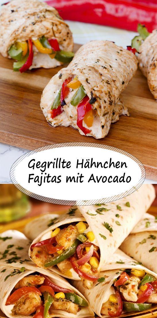 Gegrillte Hähnchen Fajitas mit Avocado Gegrillte Hähnchen Fajitas mit Avocado,