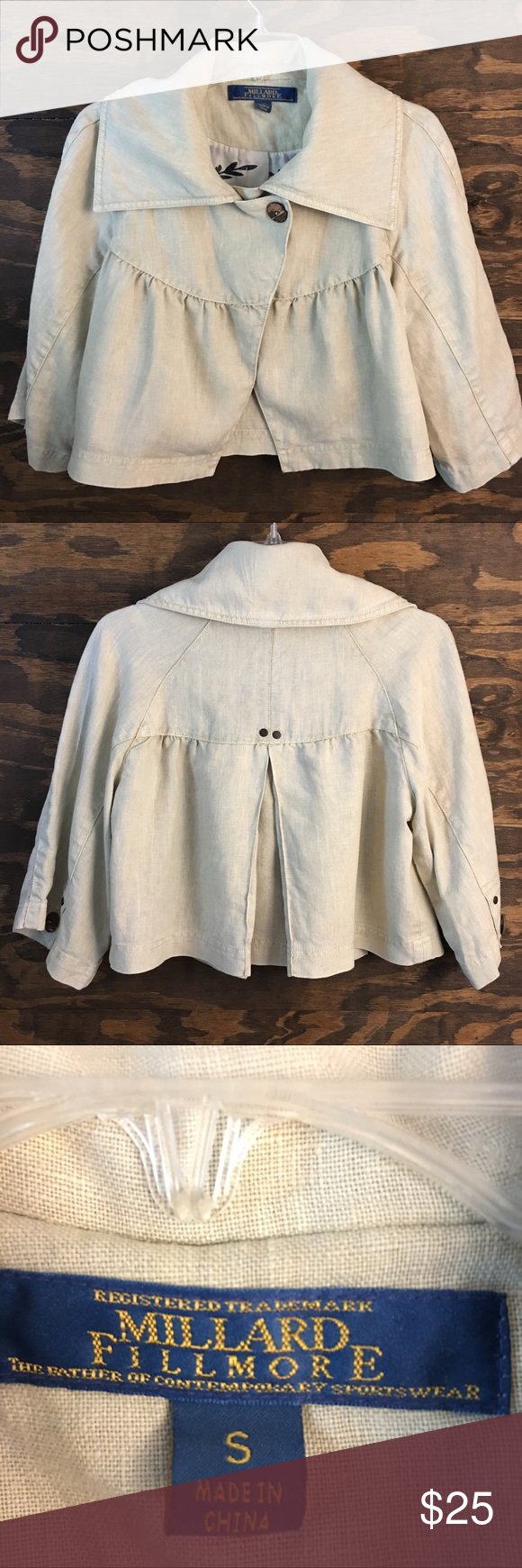 Millard Fillmore Cropped Linen Jacket Size Small Anthropologie Millard Fillmore Cropped Linen Jacket Anthropologie Jackets & Coats