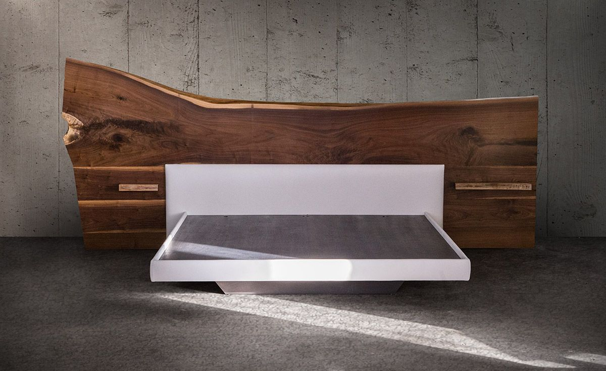 Platform Beds with Live Edge Headboard Furniture, Bed