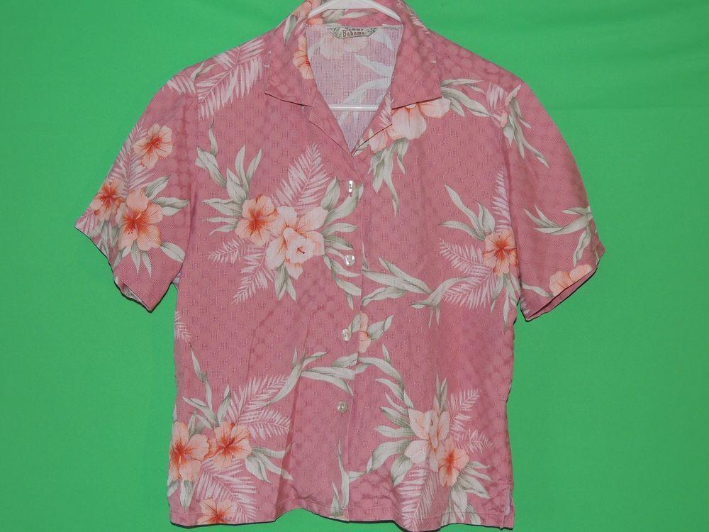 #TommyBahama #Womens #Medium #Pink #Floral #ButtonFront #Silk #ShortSleeve #Shirt #FREEShipping