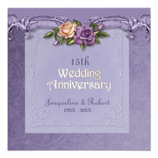 15th Wedding Anniversary Party Ideas: Damask And Roses Purple 15th Wedding Anniversary