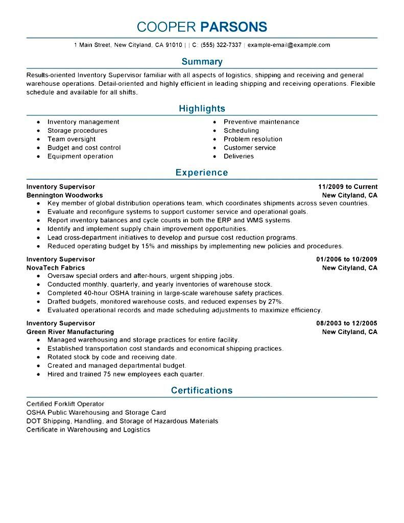 Construction Supervisor Resume Sample