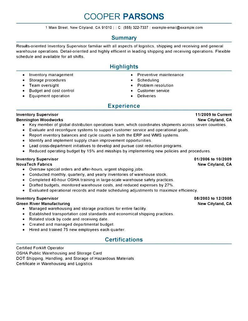 resume examples for a logistics supervisor