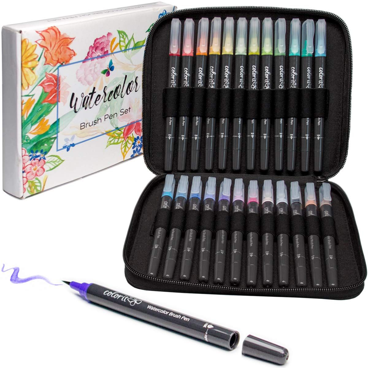 Colorit Refillable Watercolor Brush Pens Set 24 Colors With