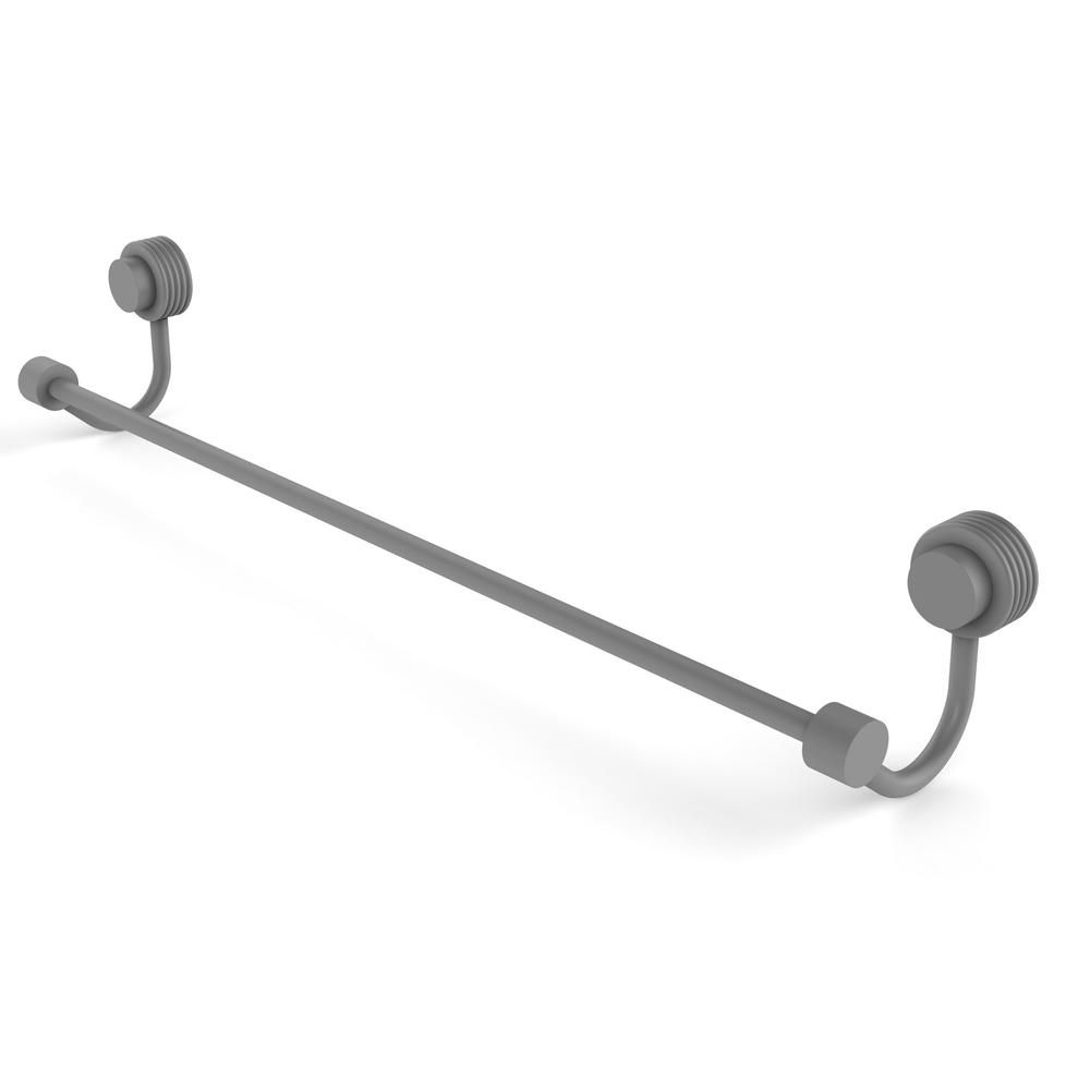 Allied Brass Venus Collection 36 In Towel Bar With Groovy Accent In Matte Gray Modern Towel Bars Contemporary Towel Bars Towel