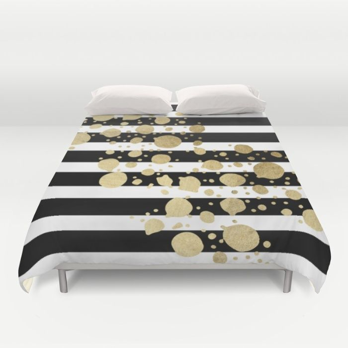 Faux Gold Paint Splatter On Black White Stripes Duvet Cover By Blackstrawberry Society6 White And Gold Comforter Black Gold Bedroom Gold Bedroom