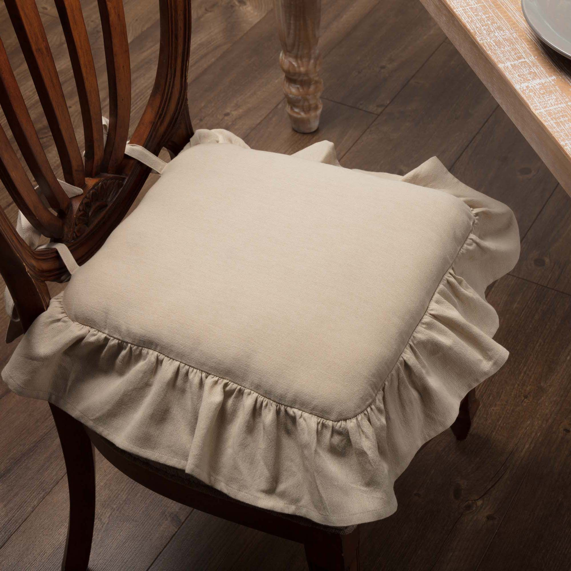 Ruffled Chambray Natural Chair Pad | Chair pads, Farmhouse ...