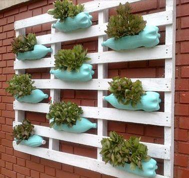 diy d co un jardin suspendu avec des bouteilles plastique jardins suspendus suspendu et. Black Bedroom Furniture Sets. Home Design Ideas