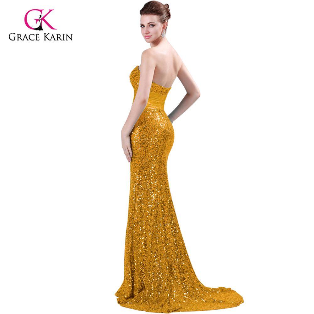 Evening Dress Grace Karin Luxury Sequins Red Black Women Long Formal