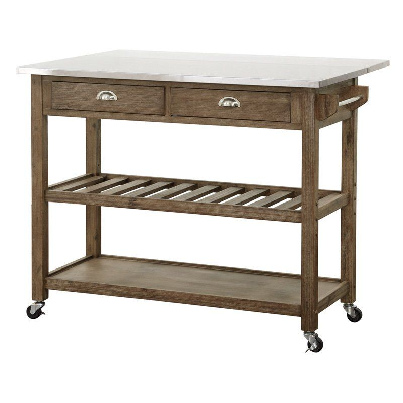 Boraam Drop Leaf Wood Kitchen Cart With
