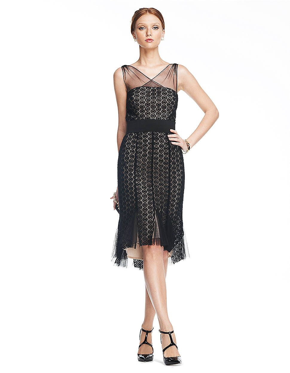 Cocktail Dress Black Mesh Lace Overlay Dress Lord And Taylor