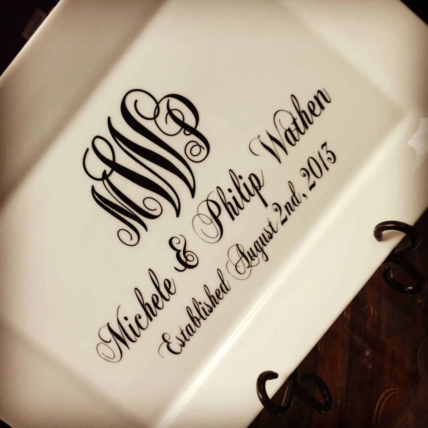 Monogram Personalized Wedding Date Plate With Stand