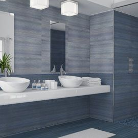 Grey And White Bathroom With Double Vask Sinks Gray White