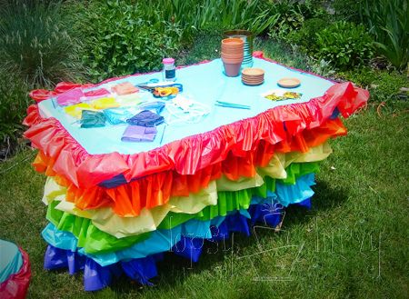 vinyl table cloth ruffled remodel craft table rainbow birthday party