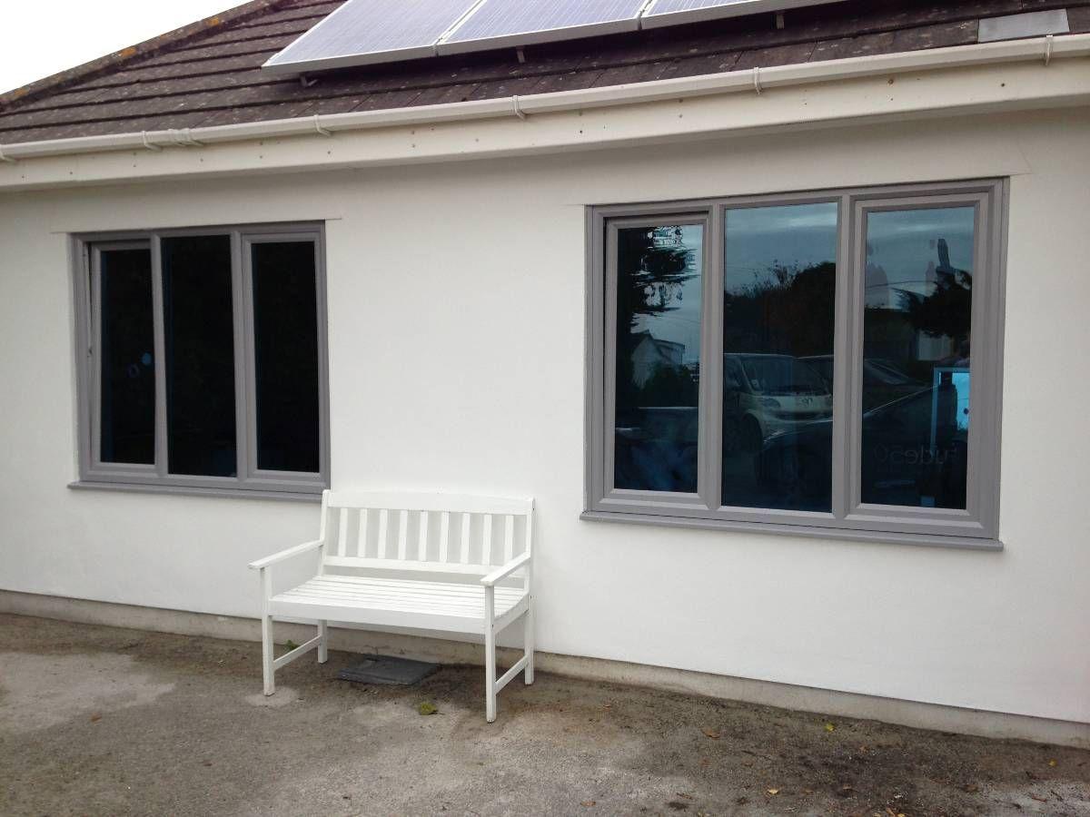 light grey windows on white/cream render  Rendered houses, Grey