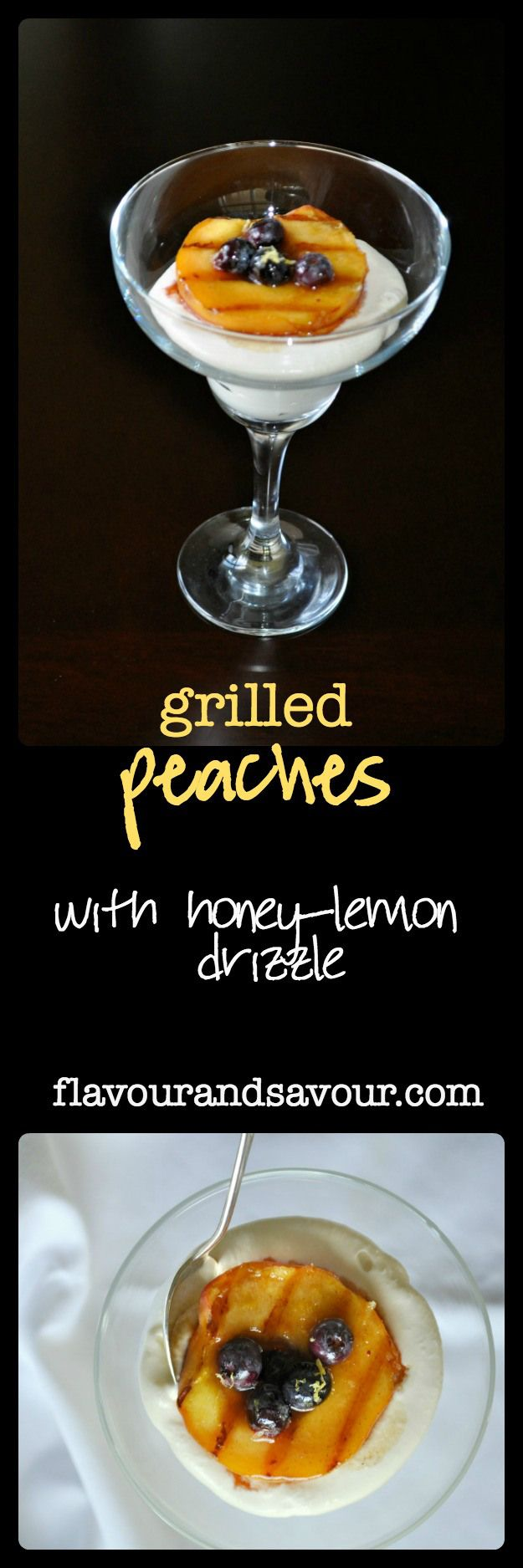 Grilled Peaches with honey-lemon drizzle. Decadent, delicious, but quick and easy. Serve with whipped cream or keep it dairy-free with whipped coconut milk.
