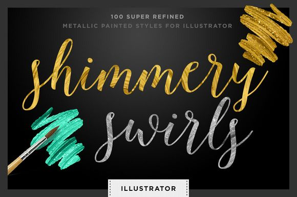 Gold Metallic Painted Styles: Vector by Creators Couture. Metallic brush stroke action for Illustrator.