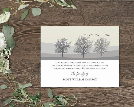 Funeral Thank You Cards | Printable Funeral Thank You Notes | Memorial Cards | Sympathy Thank You Cards | Obituary Template Printed Cards #businessthankyoucards