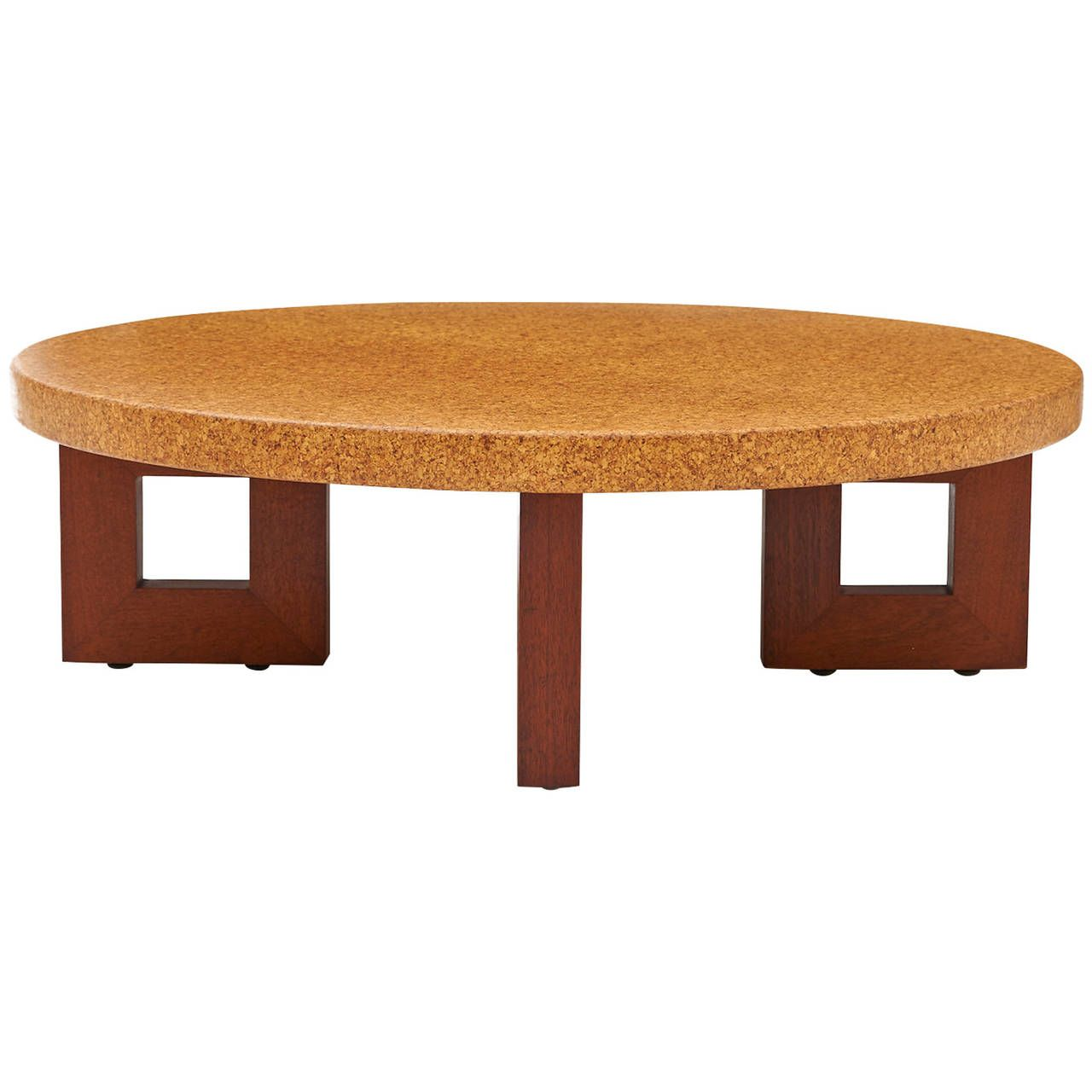Paul frankl mahogany and cork coffee table for johnson furniture ca