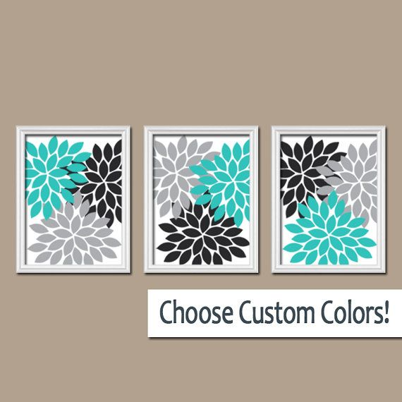Turquoise Black Gray Wall Art, Flower Wall Decor, Bedroom ...