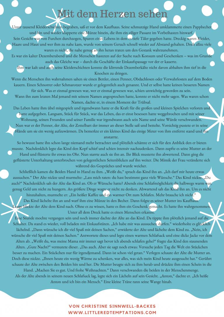 Mit Dem Herzen Sehen Eine Besinnliche Geschichte Little Red Temptations Weihnachten Geschichte Weihnachtsgeschichte Kinder Besinnliche Spruche Zu Weihnachten