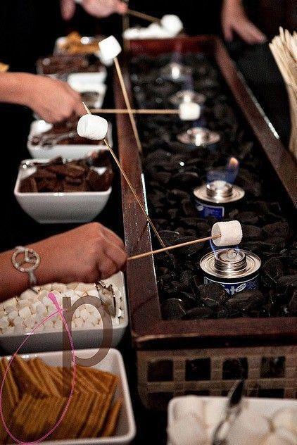 #chocolate #everyone #fountain #dessert #buffet #about #smore #what #has #aEveryone has a chocolate fountain. What about a s'more dessert buffet? #chocolatefountainfoods