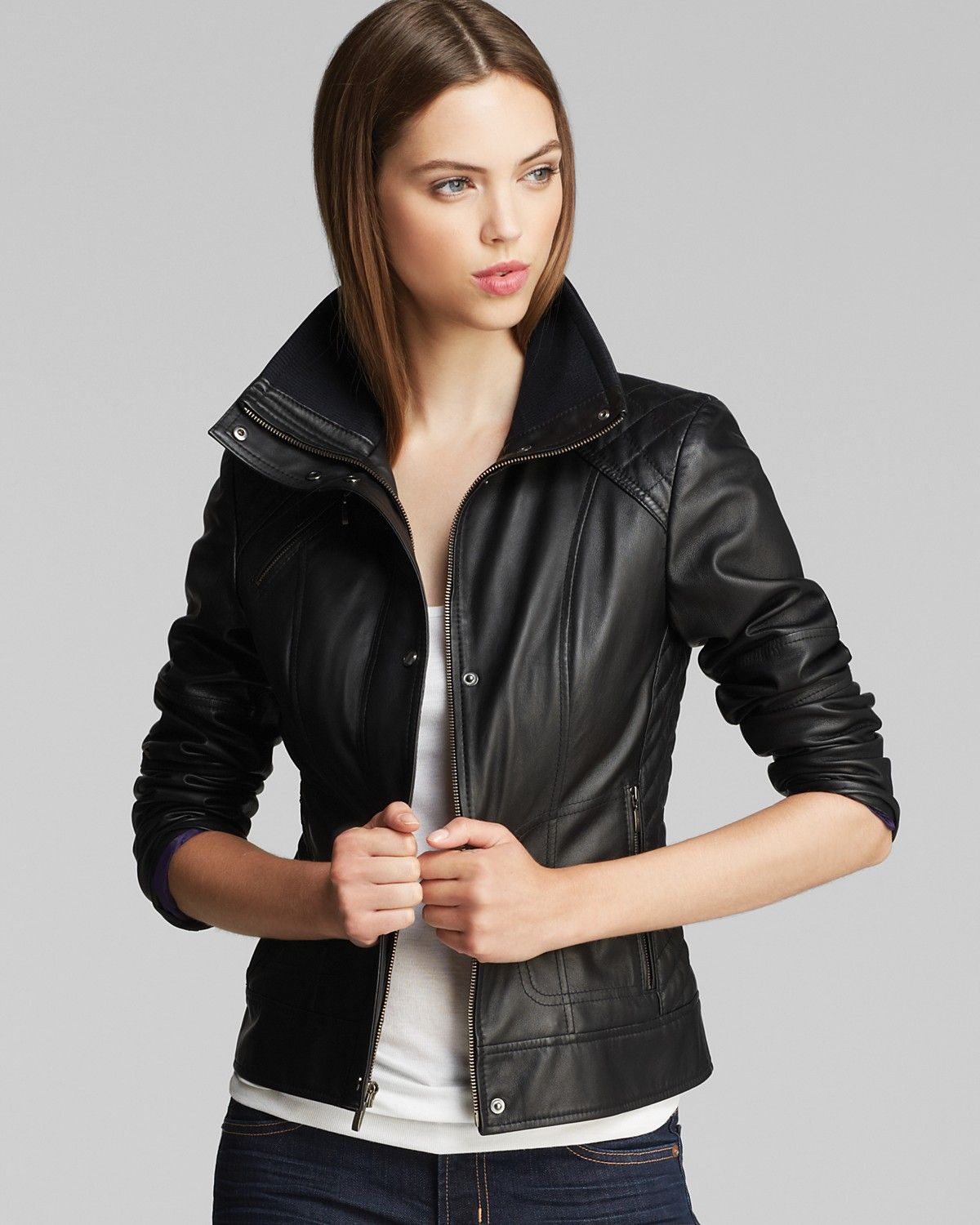 Cole Haan Leather Jacket - Diamond Quilted | Bloomingdale's ...