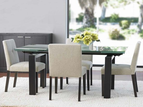 Caroline Dining Table Features A Balance Of Materials And Finishes Composed Clear Frosted Glass Top Stained Legs Hidden Extension Leaves
