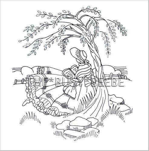 crinoline girl (sunbonnet sue, reading, embroidery