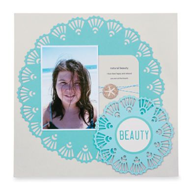 Martha Stewart Crafts™ Beauty Deco Shell Circle Scrapbook Page
