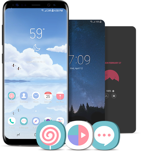 The Front View Of Galaxy S8 Midnight Black With Theme Wallpapers Icons And Aod Samsung Galaxy Wallpaper Galaxy Theme Anime Wallpaper